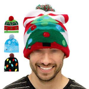eff2f2521cd6e LED Christmas Beanie Light Up Hat Christmas Tree Hat Crochet Knitted ...