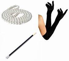1920s Fancy Dress Charleston Flapper Beads Cigarette Holder Long Black Gloves