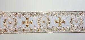 Vintage-Religioso-Croce-Design-Lame-Color-Oro-su-Bianco-Bendaggio-10-2cm-C122