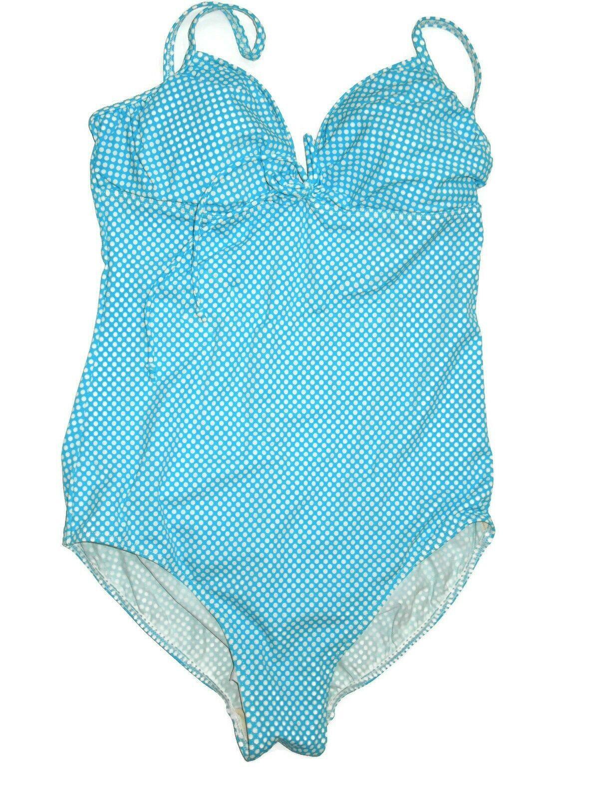 It Figures  one piece Aqua bluee polka dot print slimming Swimsuit size 14