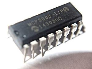 Microchip-IC-MCP3008-I-P-10Bit-ADC-2-7V-16DIP-8CH-SPI-Arduino-Pi-ARM-PIC-AVR