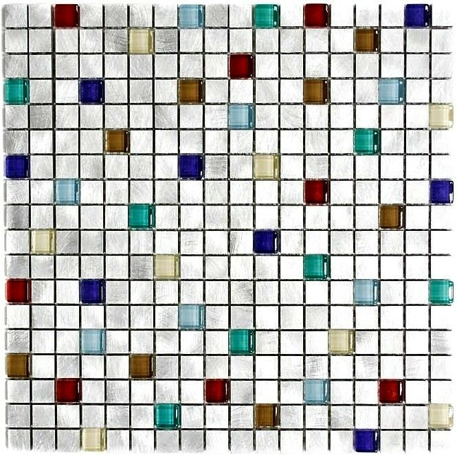 Mosaik Aluminium Glasmosaik mix silber mit bunt Küche Art  49-a702   10 Matten