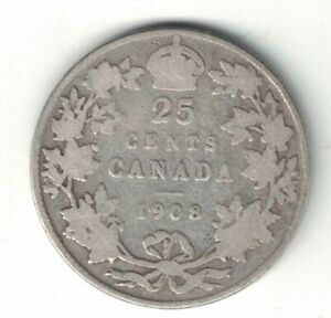 CANADA-1908-TWENTY-FIVE-CENTS-QUARTER-KING-EDWARD-VII-STERLING-SILVER-COIN