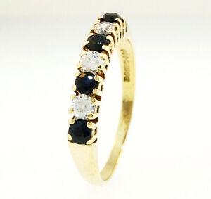 9Ct-Yellow-Gold-Simulated-Diamond-amp-Sapphire-Eternity-Ring-Size-O