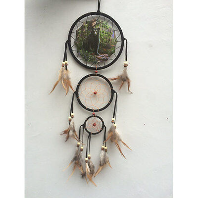 """New 20/"""" Long Black Bear Forest Dream Catcher Wall Hang Decor Feathers Bead Gift"""