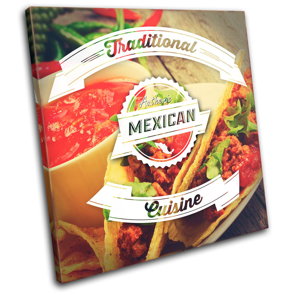 Mexican Typography  Food Food Food Kitchen SINGLE TELA parete arte foto stampa 8e33d1