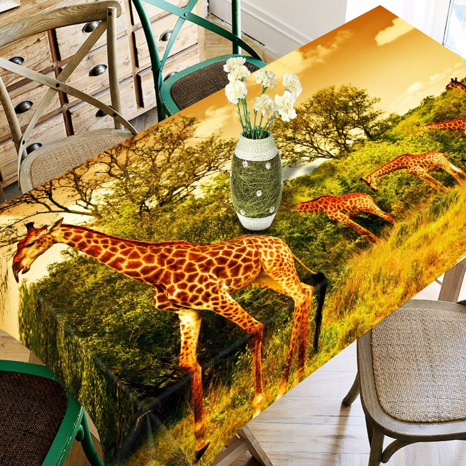 3D Tall Giraffes Tablecloth Table Cover Cloth Birthday Party Event AJ WALLPAPER