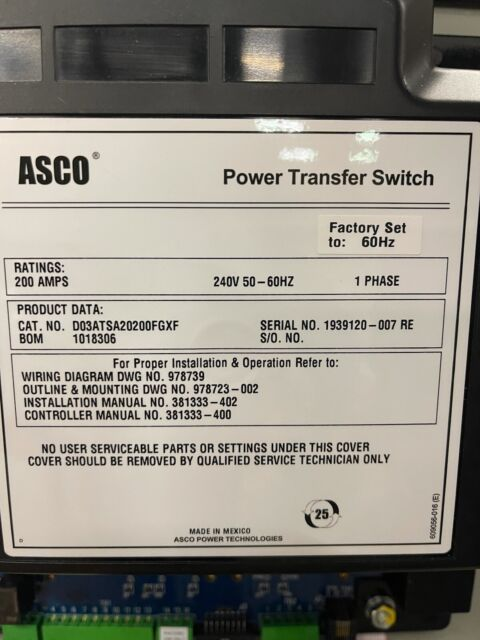 asco 200amp automatic transfer switch 240/120 or 208v/1 single phase  2pole
