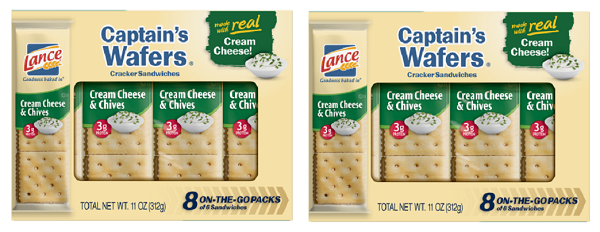 Lance Captain's Wafers Cream Cheese & Chives Sandwich Crackers 2 Box Pack