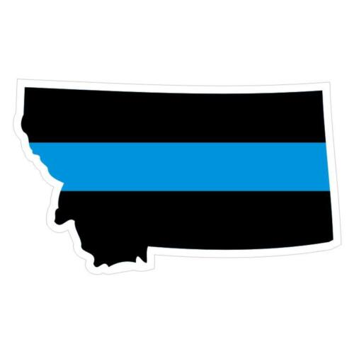 Decal #190 Made in U.S.A. Montana MT State Thin Blue Line Police Sticker
