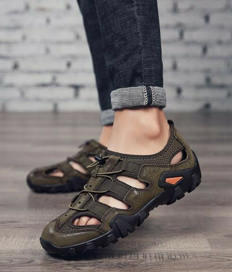 Mens Sandals Sandals Sandals scarpe Real Leather Flat Heel Breathable Summer Sport Beach summer 7f34d1