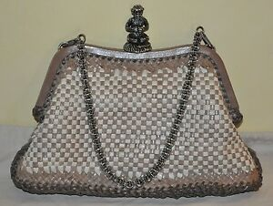 dae9f956f934 Authentic Women s Prada Madras Beige Woven Leather Evening Bag PRE ...