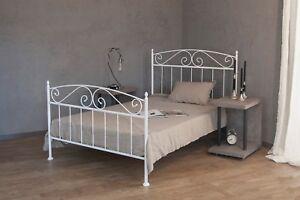 Metallbett weiß  metallbett weiss ecru oder schwarz 140x200 aus schmiedeeisen inkl ...