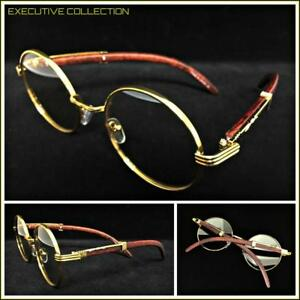 c258fc942e3a Men's Classy Elegant Retro Style Round Clear Lens EYE GLASSES Gold ...