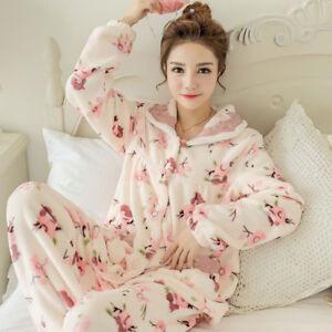 88a0df2934bb Hot Women s Flannel Winter Warm Sleepwear Home Wear Pajama Set Cute ...