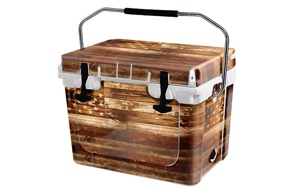 USATuff Custom Cooler Wrap Wrap Cooler 'Fits New Mold' RTIC 20QT FULL USA Flag Wood c03396