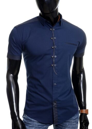 Mens Casual Short Sleeve Shirt Classic Collar Metal Snaps Button Loops Cotton