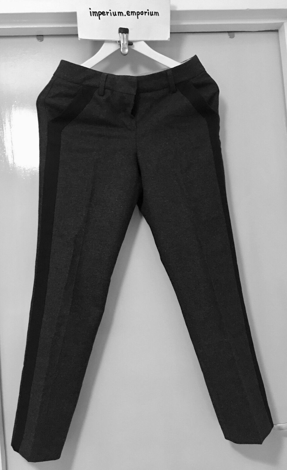 Women's Kookai Insulated Straight Trousers Inches Pants Grey/Black Size 25 Inches Trousers 7d977e