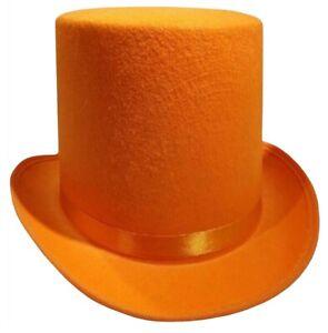 Dumb and Dumber Orange Tall  Felt Top Hat Lloyd Christmas Costume Accessory