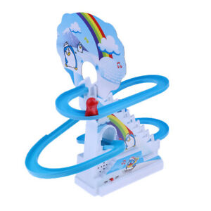 Blue-Penguin-Electric-Light-Puzzle-Electric-Rotary-Climb-Stairs-Track-Toy