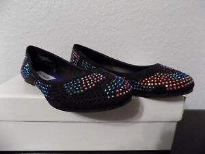 d3c7f8f52a8 Steve Madden big girls J Concord black pink blue beaded flats size ...