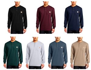 dc61ff04 Carhartt Men's Workwear Pocket Long Sleeve Henley Shirt Black Cotton ...