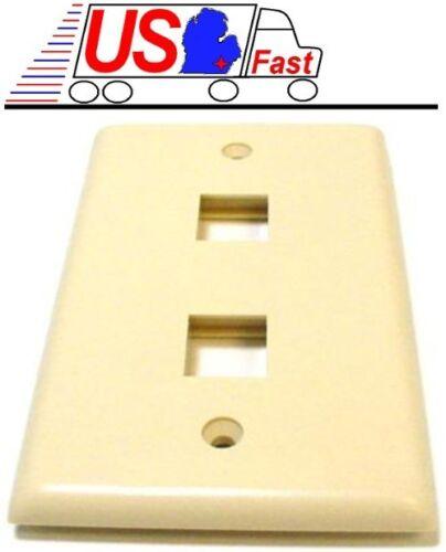 Lot100 Keystone flush Wall face Plate 2//Two//Dual Hole//Jack//Port{IVORY//BEIGE//IV