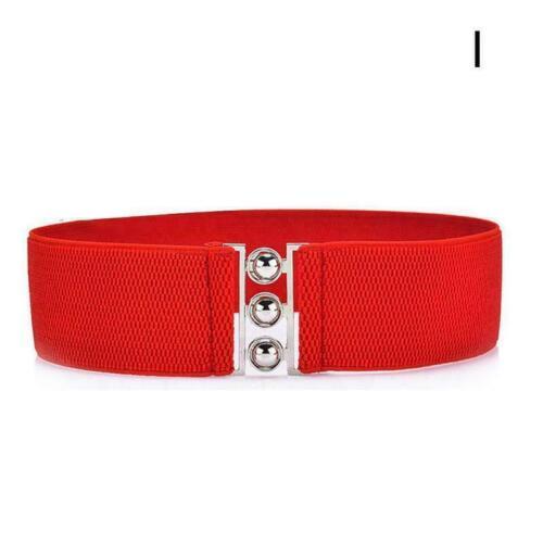 Womens elastische Schnalle breiten Quaste Bund Retro Stretch Gürtel Lady Ko T0A0