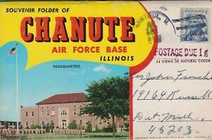 Vintage-Fold-Out-Folder-Folio-Souvenir-Chanute-Air-Force-Base-Illinois-IL