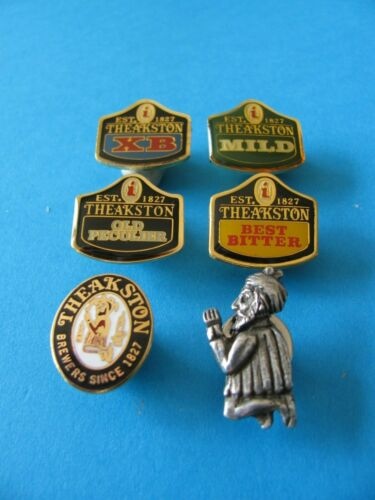 Unused 6 Theakston Beer Brewery Pin Badges All Different.