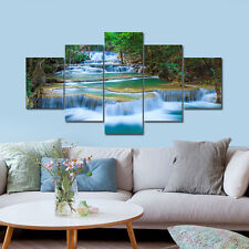 Large Canvas Print Landscape Home Art Decor Green Blue Forest Waterfall Framed