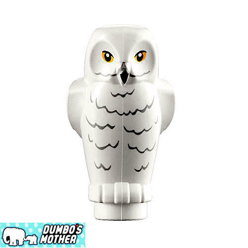 100/% LEGO Hedwig Owl Harry Potter White Owl w// Rippled Chest Feathers