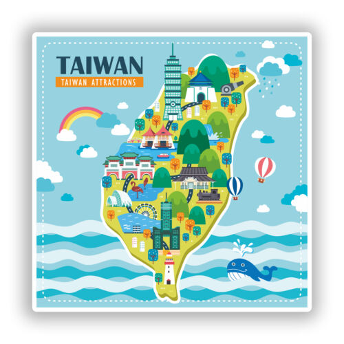 2 x Taiwan Vinyl Stickers Travel Luggage #10749