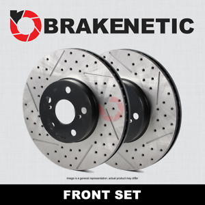 FRONT SET BRAKENETIC PREMIUM Drilled Slotted Brake Disc Rotors BNP61104.DS