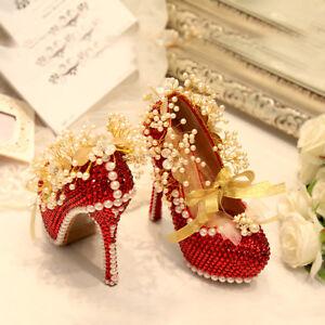 b0c2c3a7fd8 Details about Red Womens Wedding Shoes Rhinestones Flowers Bride High Heel  Stilettos Diamond Q