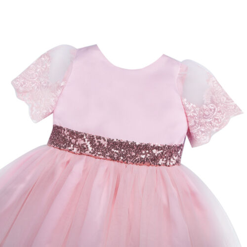 Girls Toddler Baby Tutu Dress Princess Sequin Bow Party Birthday Wedding Pageant