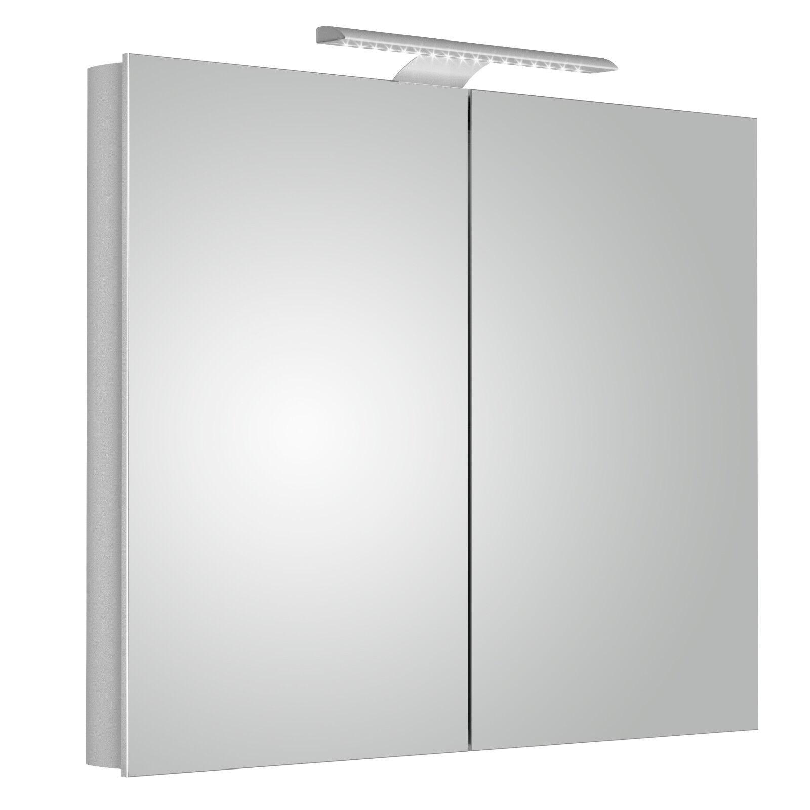 Aura 90cm Mirror Bathroom Cabinet With Lights Double Door