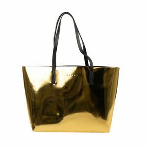 NWT MARNI Metallic Gold Faux Leather 'Shopping' Tote Bag $590