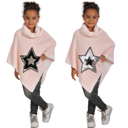 Fille Étoile Poncho tournant Paillettes Col Roulé Col Châle Enfants