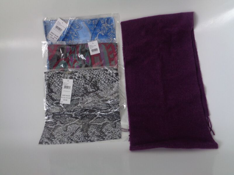 Tie Rack Pure New Wool Purple Scarf + 3 Lightweight Scarfs £43.96