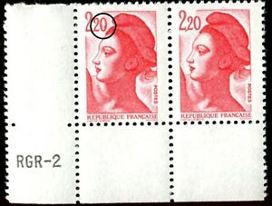 TIMBRE-VARIETES-LIBERTE-2-20-ROUGE-N-Yvert-2376-L45N