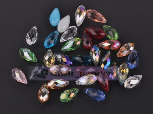 10pcs 20x10mm Faceted Teardrop CRYSTAL GLASS LOOSE BEADS Pendaison Gouttes Findings