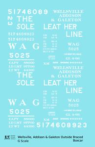 K4 G 1:29 Decals Wellsville, Addison & Galeton Single Sheathed Boxcar White WAG