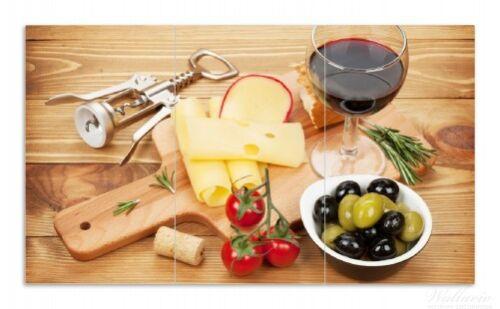Rotwein Genuss Abend 90x52cm Wallario Herdabdeckplatte 3-teilig aus Glas