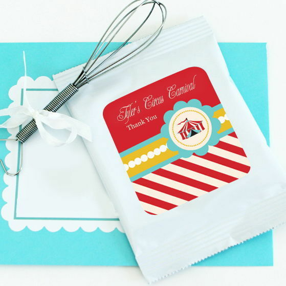 48 Personalized Circus Carnival Hot Cocoa Mix Pouches Birthday Party Favors