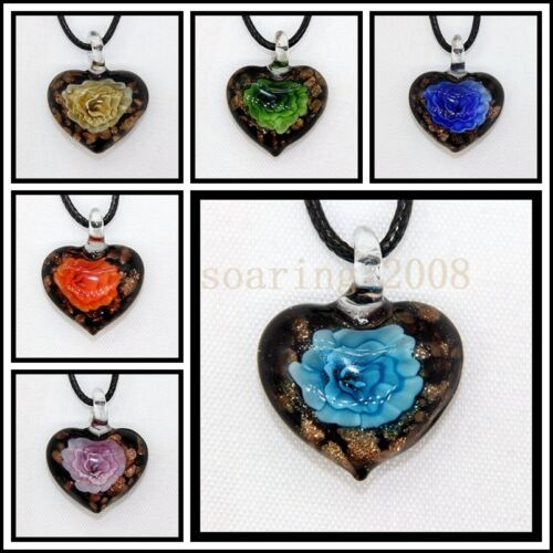 2016 New Love LAMPWORK MURANO Art Glass Beaded Pendentif Collier #M108