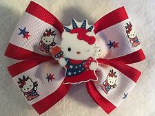 "Girls Hair Bow 4"" Wide Hello Kitty Red/White/Blue 4th of July Red Alligator Clip"