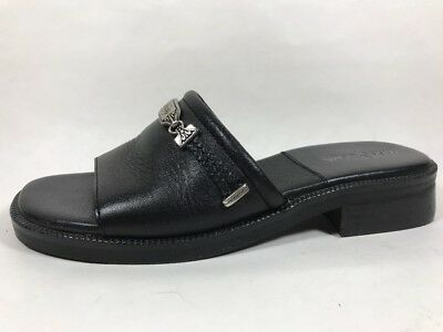 Minnetonka Moccasin Black Slide Sandals Womens Sz 7 Medium Leather Low
