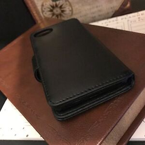 Real-Leather-Wallet-Pelle-Vera-Business-Class-Hand-Crafted-Case-iPhone-7-Black