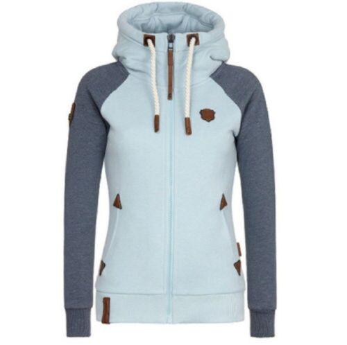 Damen Hochkragen Hoodie Sweatjacke Kapuzenpullover Sweater Kapuzenjacke S-5XL DE